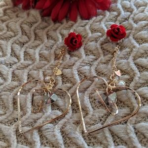 Jewelry - Roses and Hearts Long Dangle Earrings